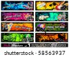 Disco Banner Collection with a lot of Music Design Elements - Set 1 - stock vector