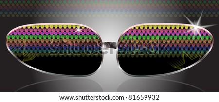 disco Black Sunglasses - stock vector
