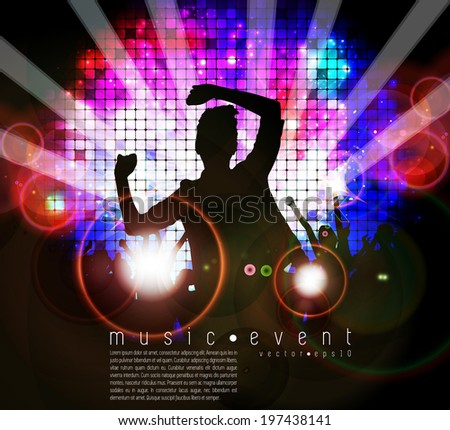 Disco club. Dancing people. Vector illustration - stock vector