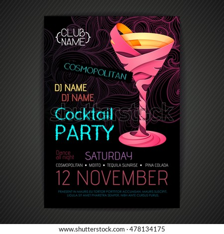 Disco cocktail party poster. 3D cocktail design.