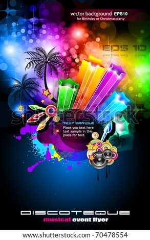 Disco Dance Tropical Music Flyer with colorful background - stock vector
