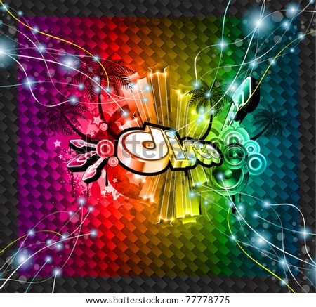 Disco Event Background with and Explosion of colurs! Ready for flyers and posters. - stock vector