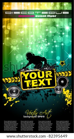 Disco Event Poster with a Disk Jockey  remixing two disks with a waterfall of glitters lghts on the back and space for your music text and details. - stock vector