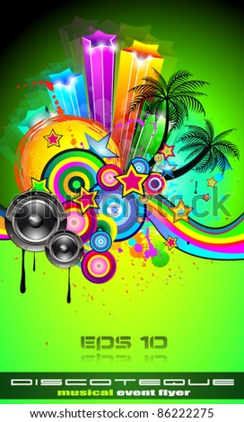 Disco Event Poster with an abstract mix of design elements included tropical palms and space for your music text and details. - stock vector
