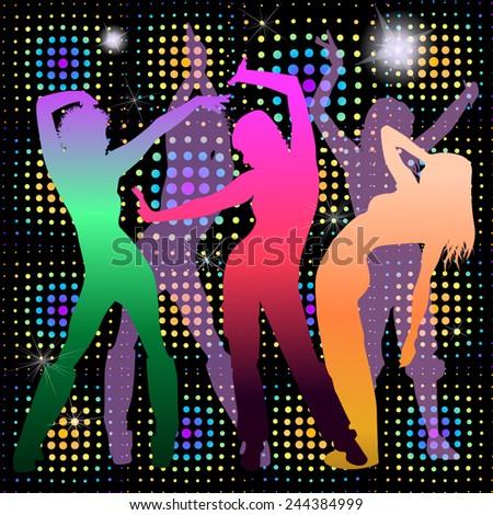 Disco Girl dance. Vector - stock vector