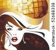 Disco girl. .(vector illustration) - stock photo