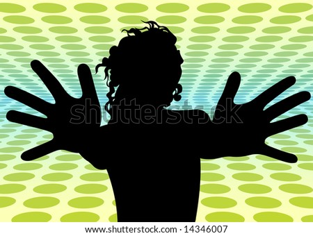 disco girl with wide fingers vector