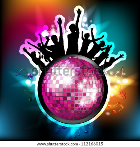 Disco globe and silhouettes - stock vector