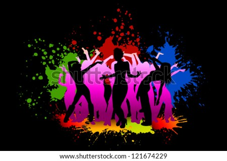disco in the night club with spots of paint - stock vector
