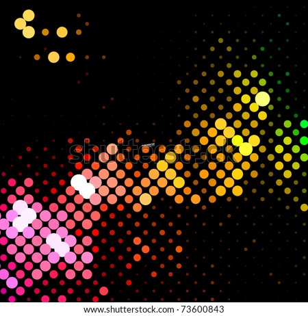 disco light dots pattern on dark background , Vector illustration - stock vector