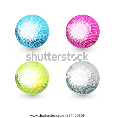 Disco mirror balls isolated on white background (Vector image) - stock vector