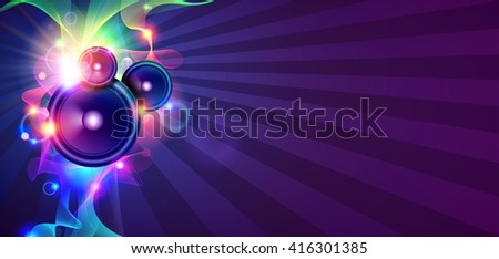 Disco Music Background With Sound Waves And Speakers - stock vector