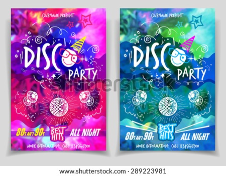 Disco music night party. Flyer or poster abstract colorful template designs - stock vector