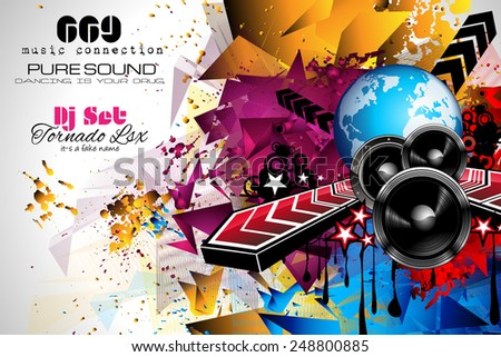 Disco Night Club Flyer layout with DJ shape and music themed elements to use for Event Poster, Club advertisement, Night Contest promotions and Invitations. - stock vector