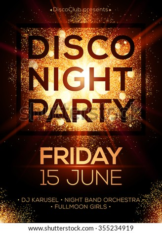 Disco night party vector poster template with shining golden spotlights background - stock vector