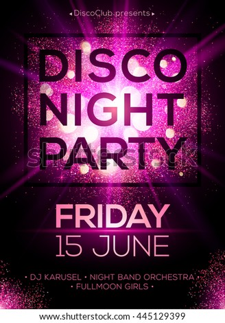 Disco night party vector poster template with shining pink spotlights background