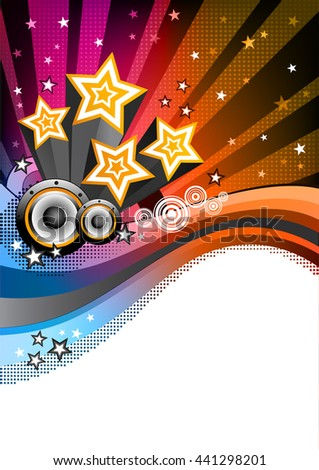 Disco Party background. Colorful halftone background. Abstract holiday vector background. Music background with speakers. Disco flyer. Place for text. Vector illustration