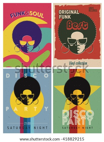 Disco party event flyers set. Collection of the creative vintage posters. Vector retro style template. Black woman in sunglasses. - stock vector