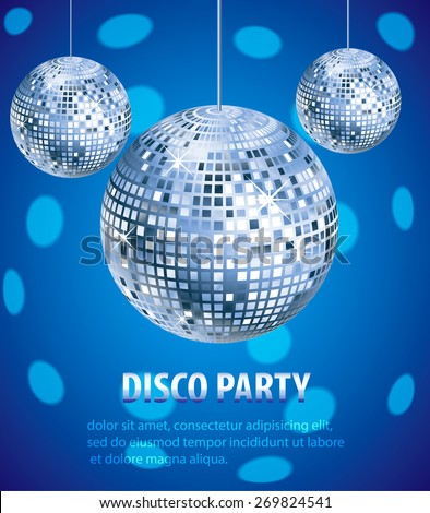 Disco party invitation. Disco balls, nightclub and nightlife background, vector illustration - stock vector