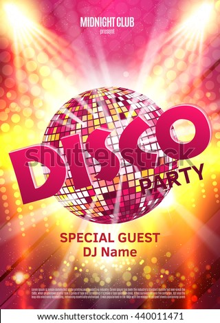 Disco party poster. Background party with disco ball. - stock vector