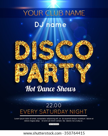Disco Party Poster Background Template. Dance Party Night Poster. Disco party poster. Disco party design on bokeh background. Dance floor. Disco dance floor. Party background. - stock vector
