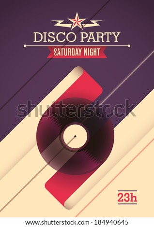 Disco party poster design. Vector illustration. - stock vector