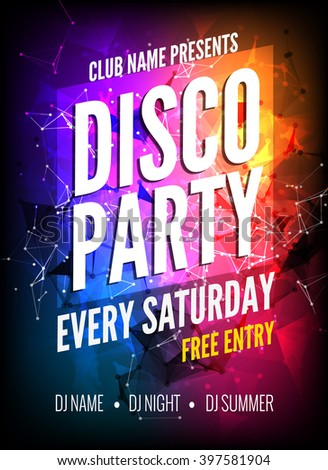 disco party poster template night danceのベクター画像素材 397581904