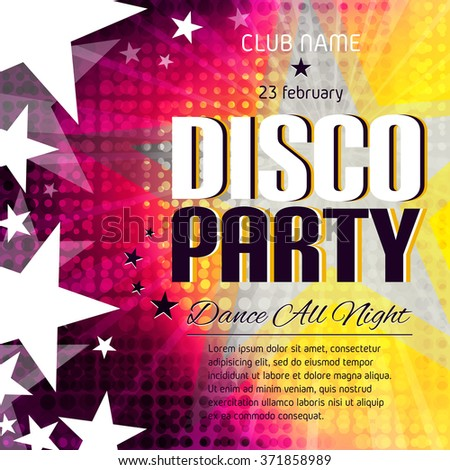 Disco party poster with place for text. Colorful halftone background. Vector Illustration - stock vector