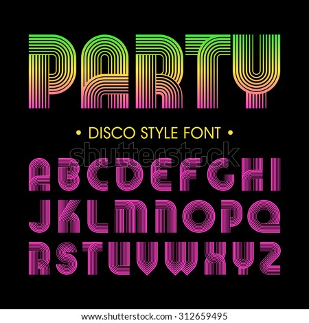 Disco party style font - stock vector