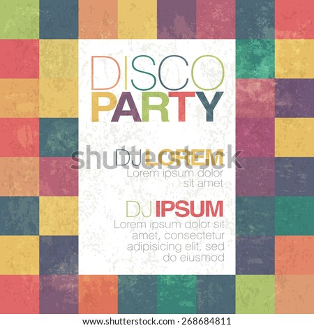 Disco poster or flyer design vintage vector template on colorful square background - stock vector