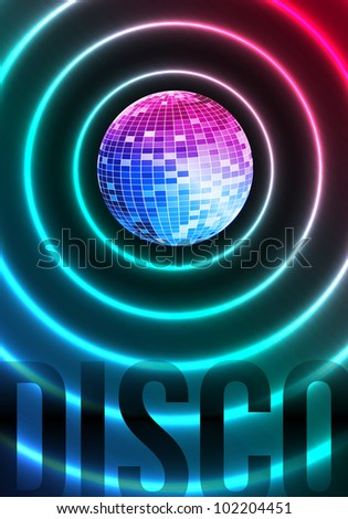 Disco Theme with Mirror ball on dark background - stock vector