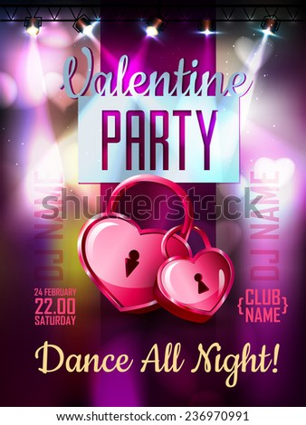 Disco Valentine background. Disco poster - stock vector