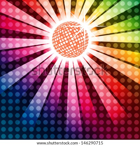 Discoball with funky rainbow background, EPS10 vector - stock vector