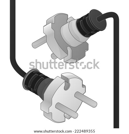 disconnect plug ending isometric vector object illustration - stock vector
