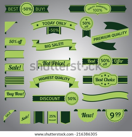 Discount advertising retro green ribbon set isolated vector illustration - stock vector