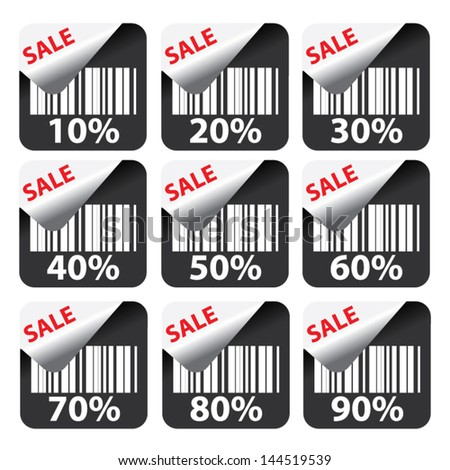 Discount black labels and stickers sale 10 - 90 percent. Vector - stock vector