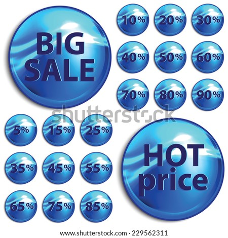 Discount blue stickers on white background. Vector illustration.  - stock vector