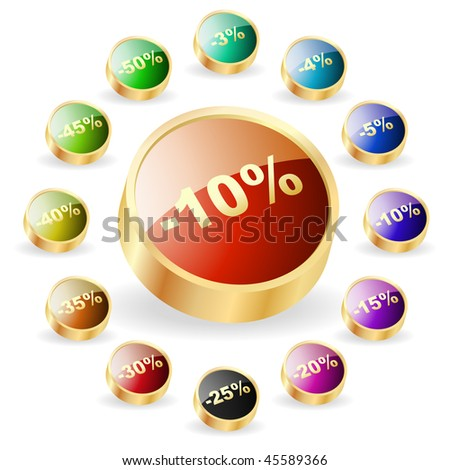 Discount button templates with different percentages