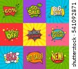 Discount comic labels set with special offer symbols flat isolated vector illustration
