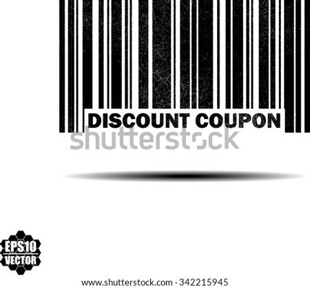 Discount Coupon - black barcode grunge rubber stamp design isolated on white background. Vintage texture. Vector illustration