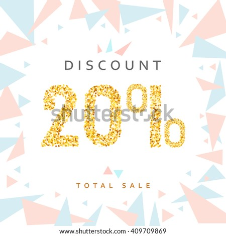 Discount 20. Discounts price tag. Golden discount. Black Friday. Clearance Sale. Discount coupon. Discount gold. Sale discount - stock vector