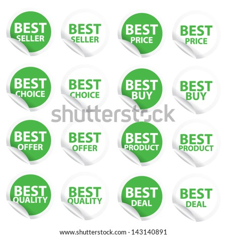 Discount green labels and stickers sale 10 - 90 percent. Vector. - stock vector