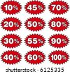 Discount labels templates with different percentages - stock vector