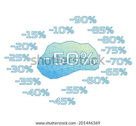 Discount labels. Vector. Triangular design. - stock vector