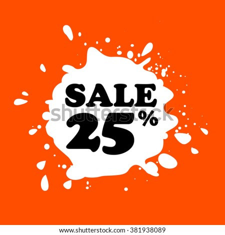 Discount on white blot. Colored blot. Orange color backgraund. Discount 95 percent. Discount 95 percent. Vector label. Twenty five percent sale. - stock vector