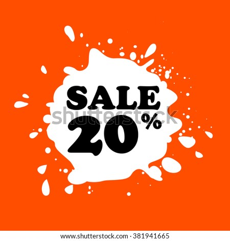 Discount on white blot. Colored blot. Orange color backgraund. Discount 20 percent. Discount 20 percent. Vector label. Twenty percent sale. - stock vector