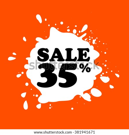 Discount on white blot. Colored blot. Orange color backgraund. Discount 35 percent. Discount 35 percent. Vector label. Thirty five percent sale. - stock vector