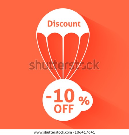Discount parachute with text of the size of the discount - stock vector