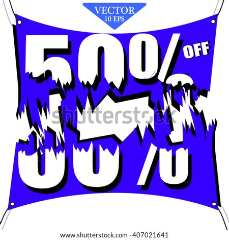 Discount 50 percent off. Broken 3D illustration on white background.