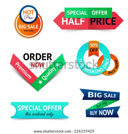 Discount premium product big sale retro color origami ribbon banner set isolated vector illustration - stock vector